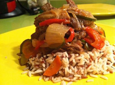 wok de ternera y arroz de Kity