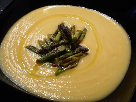 Crema de verduras con salteado de trigueros